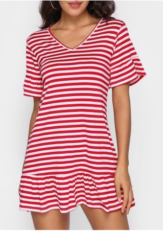 Striped Ruffled V-Neck Mini Dress