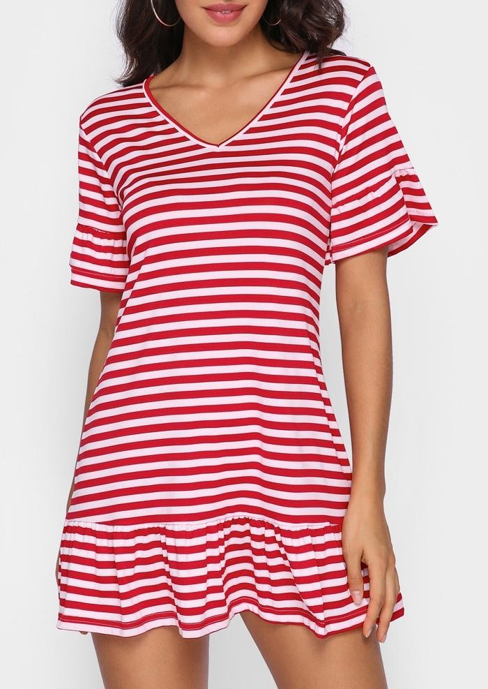 Striped Ruffled V-Neck Mini Dress