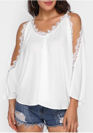 Solid Lace Splicing Cold Shoulder Blouse