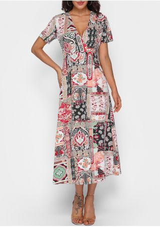 Floral Wrap V-Neck Casual Dress