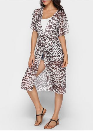 Leopard Printed Short Sleeve Cardigan with Belt