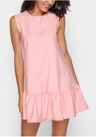 Solid Ruffled Sleeveless Mini Dress