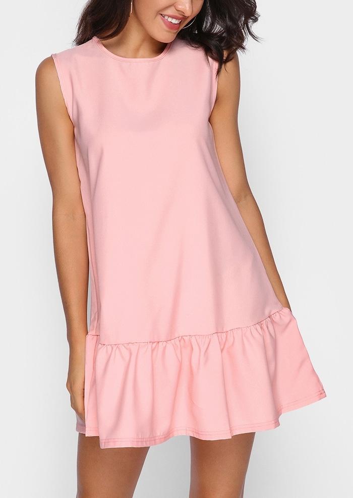 Solid Ruffled Sleeveless Mini Dress