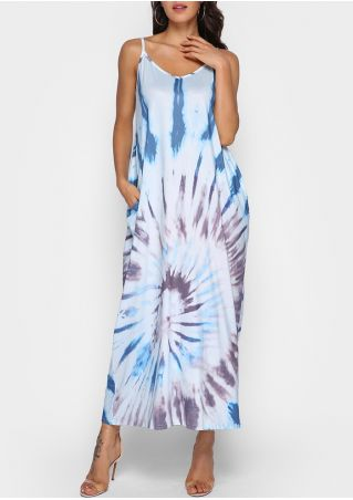 Printed Pocket Spaghetti Strap Maxi Dress