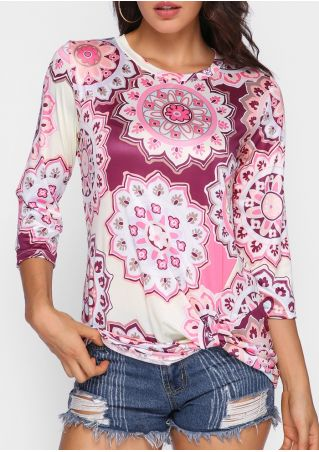 Printed Twisted Three Quarter Sleeve Blouse