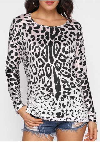 Leopard Printed Batwing Sleeve T-Shirt