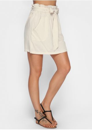 Solid Pocket Skirt with Belt