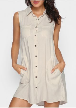 Solid Button Turn-Down Collar Sleeveless Mini Dress