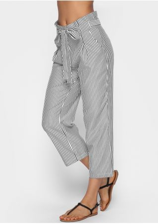 Striped High Waist Straight Pants with Belt