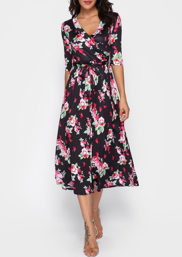 Floral Wrap V-Neck Casual Dress 411089