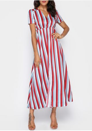 Striped Short Sleeve Maxi Dress