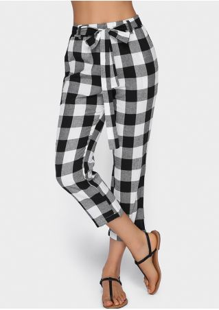Plaid Pocket Strait Pants with Belt