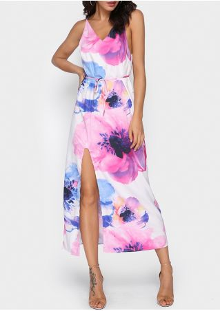 Floral Slit Backless Maxi Dress