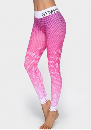 Gym Rhombus Gradient Color Sport Leggings