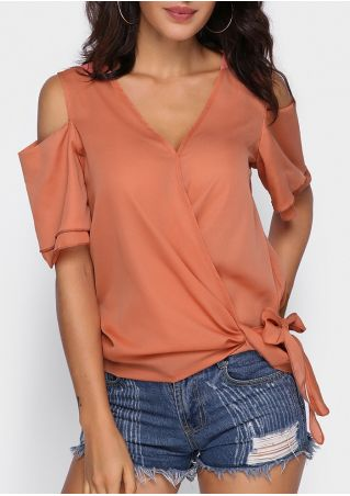Solid Tie Cold Shoulder Blouse