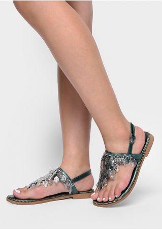 Leaf Buckle Strap Flat Sandals