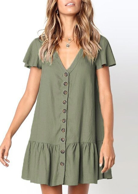 Solid Button Mini Dress without Necklace