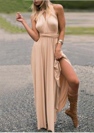 Solid Multi-Way Sleeveless Maxi Dress