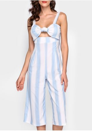 Striped Knot Padded Sleeveless Jumpsuit