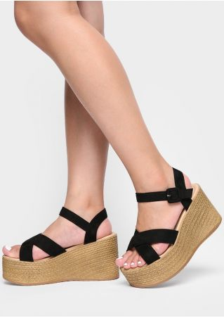 Solid Cross Buckle Strap Wedge Sandals