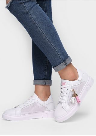 Tassel Mesh Splicing Lace Up Sneakers