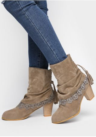 Lace Floral Tassel Splicing Lace Up Heeled Boots