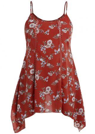 Plus Size Floral Hollow Out Spaghetti Strap Mini Dress
