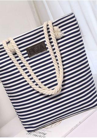 Striped Canvas Zipper Handbag Shoulder Bag
