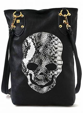 Skull PU Zipper Crossbody Bag