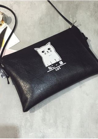 Cat PU Zipper Crossbody Bag