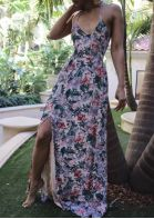 Floral Slit Halter Maxi Dress