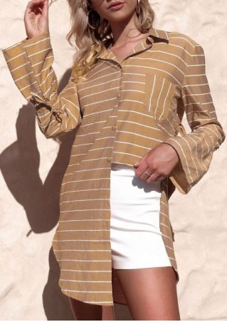 Striped Tie Turn-Down Collar Flare Sleeve Shirt