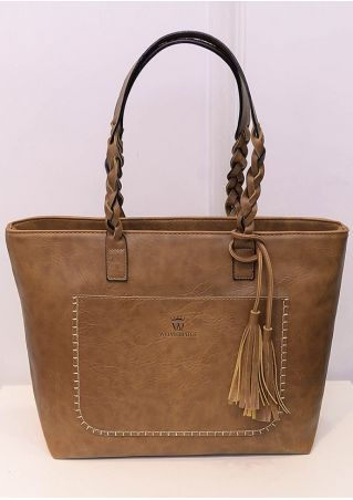 Solid PU Tassel Zipper Handbag