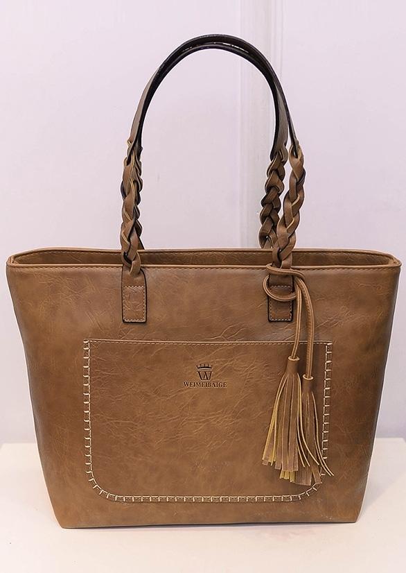Solid PU Tassel Zipper Handbag