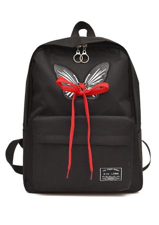 Butterfly Lace Up Zipper Backpack