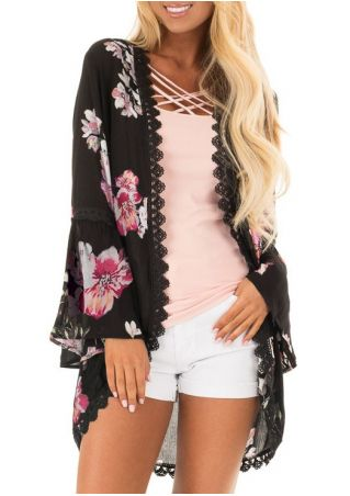 Floral Printed Lace Splicing Cardigan