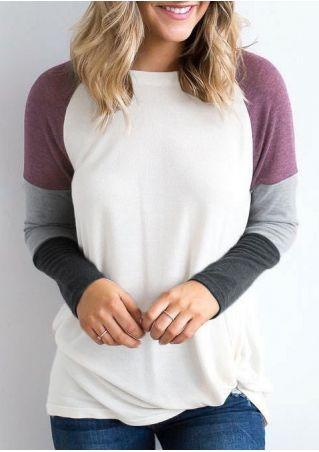 Color Block Long Sleeve Blouse