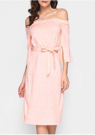 Solid Slit Off Shoulder Casual Dress