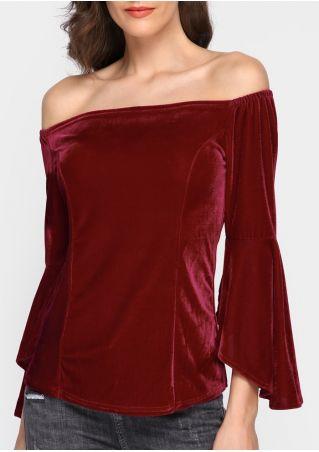 Solid Velvet Off Shoulder Flare Sleeve Blouse