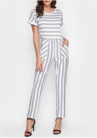 Striped Pocket Short Sleeve Jumpsuit