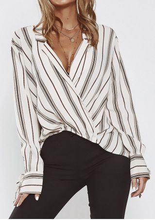 Striped Tie Turn-Down Collar Blouse