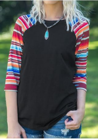 Striped Baseball T-Shirt without Necklace