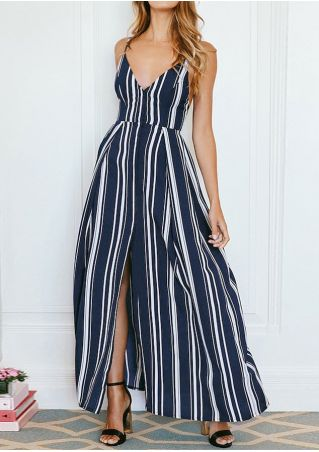 Striped Slit Tie Deep V-Neck Maxi Dress
