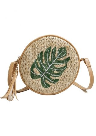 Leaf Straw Tassel Crossbody Bag