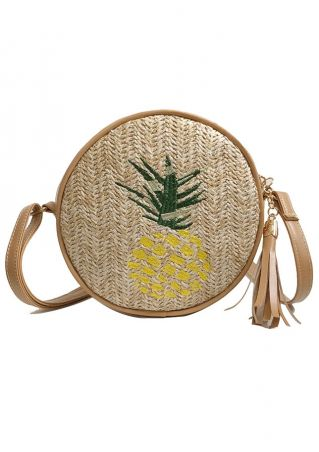 Pineapple Straw Tassel Crossbody Bag