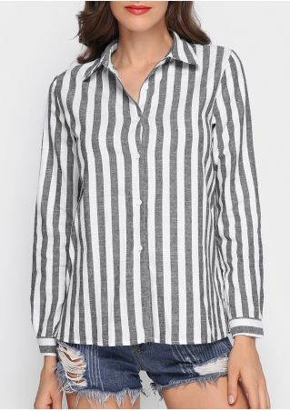 Striped Turn-Down Collar Long Sleeve Shirt