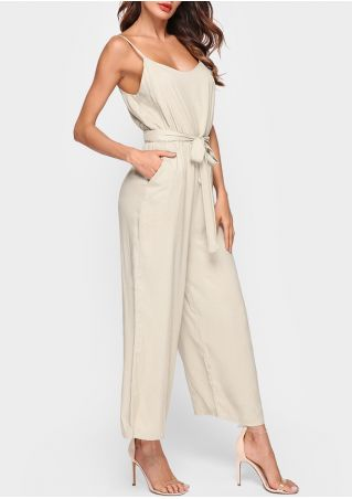 Solid Spaghetti Strap Jumpsuit with Belt