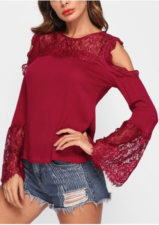 Solid Lace Floral Cold Shoulder Blouse