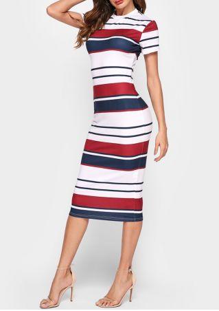 Striped Short Sleeve Bodycon Dress
