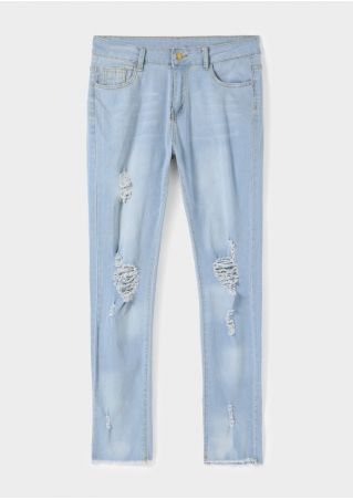 Solid Ripped Pocket Button Jeans